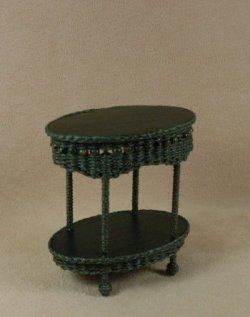 Molly's Two Tier End Table in Emerald Green