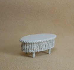 "1/2"" White Oval Coffee Table"