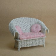"1/2"" White Loveseat"