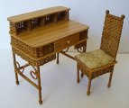 Wicker Desk with Letter Slots & Desk Chair