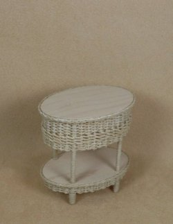 Classic Two Tier End Table in Whitewashed