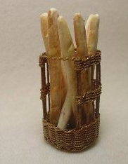 Baguette Basket Filled With Bread.