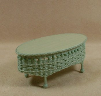 Molly's Oval Coffee Table in Mint Green - Click Image to Close