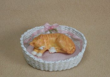 Oval Pet Bed with Bow - Click Image to Close