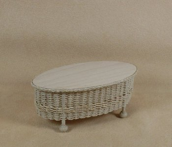 Classic Oval Coffee Table in Whitewashed - Click Image to Close