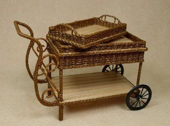 Wicker Tea Cart with Tray - Click Image to Close